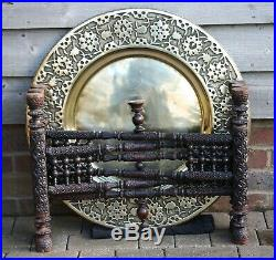Fine antique Anglo-Indian School of Art Jeypore brass top table on rosewood base