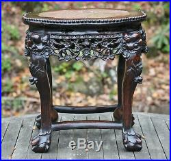 Fine antique Chinese rosewood low table with carved frieze & marble top, 19th C