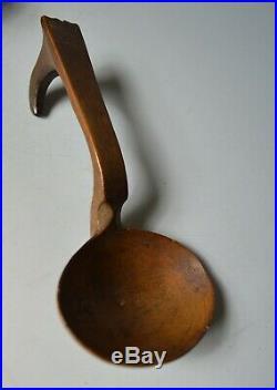 Fine antique Scandinavian carved wood spoon Norwegian Swedish Folk art Treen
