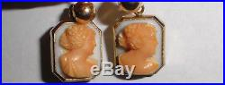 Fine antique Victorian 14k gold carved coral cameo earrings