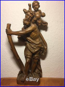 Fine antique vintage german wood carving Saint Christopher & Jesus Christ statue