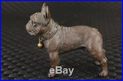 Fine chinese old bronze hand carved dog good stand statue figure collectable