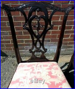 Fine set 8 Chippendale 19th century antique solid carved mahogany dining chairs