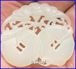 Finely Antique Carved White Mutton Fat Nephrite Hetian Jade Pendant Peach Gourd