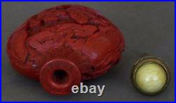 Finely Carved 19th Century Imperial Chinese Cinnabar-red Lacquer Snuff Bottle