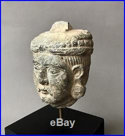 Finely Carved Ancient Gandharan Schist Stone Head C. 2nd-4th Century A. D