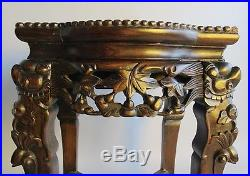 Finely Carved Antique Chinese Hand-Carved Pedestal Stand c. 1920 table #1