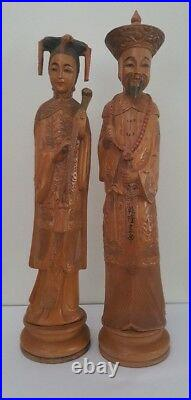 Finely Carved Chinese Emperor & Empress Wood Statues / Figurines 36cm