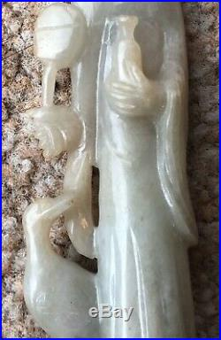 Finely Carved Chinese Nephrite Jade figure Of Guan Yin with Bird and Mirror