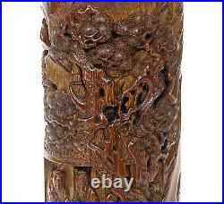 Finely Carved Chinese Qing Scholar Open Work Tall Bamboo Incense Burner