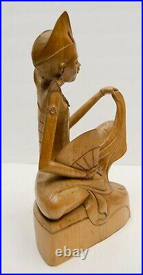 Finely Carved Indonesian Bali Wood 12 Figure Statue Sculpture Vtg MCM Antique