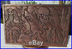 Finely Carved Large Antique Benin Carved Hardwood Panel Animals