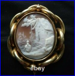 Finely Carved Large Antique Cameo revolving mourning brooch circa 1895