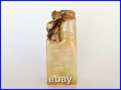 Finely Carved Pair of Kissing Love Birds Chinese Soapstone Seal