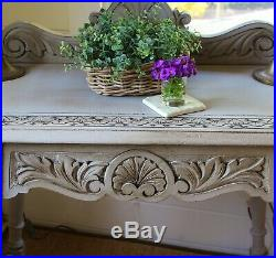 Finely Carved Rustic Painted Antique Hall Table/side Table/french Grey
