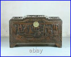Finely carved Chinese camphorwood chest, excellent colour & condition, c. 1920