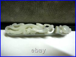 Finely carved Chinese celadon white jade belt buckle garment hook 4.75 19th C