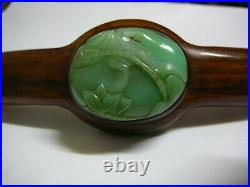 Finely carved Chinese moss on snow green jadeite jade septre early 20th C