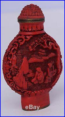 Finely carved Old Chinese Red Cinnabar Snuff perfume Bottle Signed marked