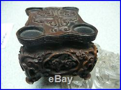 Finely carved rock crystal archaic covered censer on HuangYangMu wood stand 18th