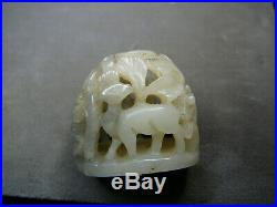 Finely carved small Chinese Yuan/Ming celadon white jade finial deer on forest
