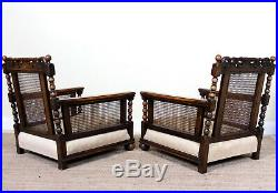 French Bergere Sofa and Armchairs Antique Carved Fine Quality Cane Art Nouveau
