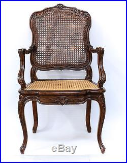 French Cane Backed Chair 19th Century Finely hand carved & Reupholstered