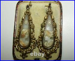 Gorgeous, Long, Antique Georgian 9ct Gold/pinchbeck Carved Shell Cameo Earrings