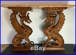 Griffins pair carved wood antique fine details & original patina