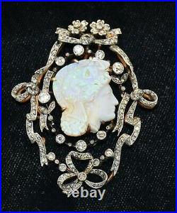 Heirloom Victorian Carved Opal Cameo & Diamond Pendant Brooch of Perseus