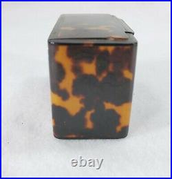 Huge Antique c. 1810 Fine Carved Early Faux Tortoise Table Shell Snuff Box