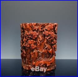 Important Ming Chinese Finely Carved Cranes under Pine Tree Bamboo Brush Pot