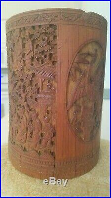 Important Ming Chinese Finely Carved SCENE Cranes Bamboo Brush Pot