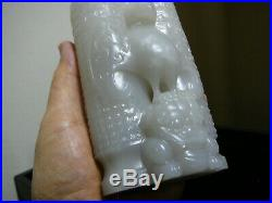 Important finely carved Chinese celadon white jade champion vase 18th 19th C