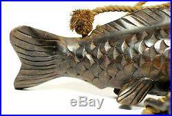 JIZAIkagi Pothook Old Japanese Traditional Folk Utensil Fine Carved Carp 39.5cm