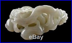 Jade carving fine white Buddha hand finger citron and peaches large