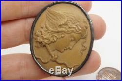 LOVELY ANTIQUE VICTORIAN SILVER FINELY CARVED LAVA MEDUSA CAMEO BROOCH c1870