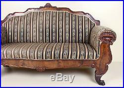 Large Antique Biedermeier Sofa Carved Mahogany 19th Century Fine Quality