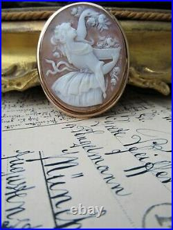 Large Antique Fine Carved Shell Cameo Brooch Pin
