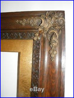 Large Fine Quality Striking Antique Carved Patinated Oak And Gilt Picture Frame