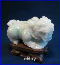 Large Fine natural light green grade A jade carved PI Xiu statue(with stand)