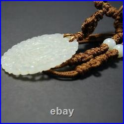 Large Old Chinese Jade Pendant Necklace Estate Jewelry, Fine Carving