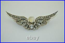 Large Victorian Winged Hand Carved Moonstone Diamond Paste Cherub Brooch