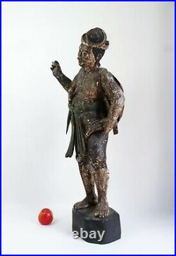 Large fine antique 19th century Burmese Warrior statue carved wood