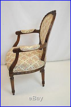 Louis XVI Fauteuil Armchair with Finely Carved Frame, Ribbon Crest, c. 1920's