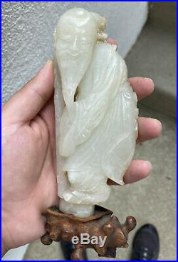 Massive Antique Chinese White Pale Green Jade Figure Fine Carving