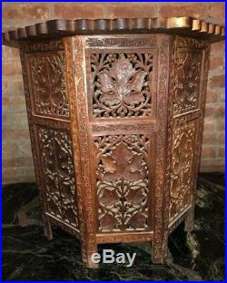 MoroccoVINTAGE HEAVILY FINELY CARVED GRAPEVINE 24H WOOD PLANT STAND/TABLEExc