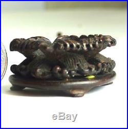 N997 Fine Antique Chinese Carved Hardwood Small Stand With Waves