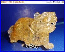 Natural titanium haired crystal fine carved Chinese fortune & guardian beast