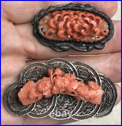 Nice! Lot 2 Old Chinese Silver & Finely Carved Coral Shell Asian Brooch Pins